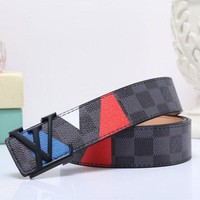 Supreme & Louis Vuitton LV New fashion tartan print couple belt Black