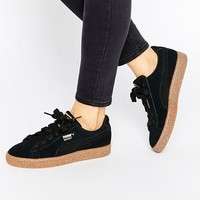 Puma X Careaux Black Suede Basket Sneakers With Speckle Gum Sole at asos.com