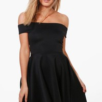 Petite Katy Off The Shoulder Skater Dress | Boohoo