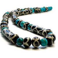 American Turquoise with African Horn Beads, Giraffe Pattern, Blue, Brown