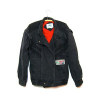 vintage 1980s slouchy black denim moto jean jacket coat