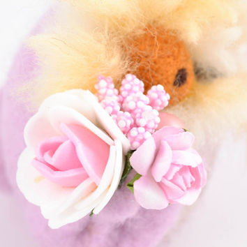 Felted handmade wool toy for gift Owl textile pink lovely present soft decor