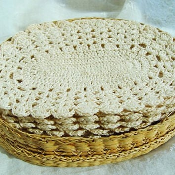 Vintage Coaster Set with Lidded Basket, One Dozen