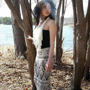 Maxi Skirt,  Crochet, Festival Clothes, Bohemian, Hippie, Retro Style, Plus Size, Coachella,  Vegan, Lollapalooza, Bohemian wedding