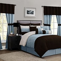 Geneva Home Fashion 20-Piece Lenox Comforter Set, Queen, Taupe/Blue/Chocolate