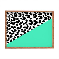 Rebecca Allen Leopard And Mint Rectangular Tray