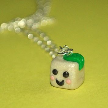 Little Kawaii Vegan Tofu Cube Necklace by Pumpkinpye517 on Etsy