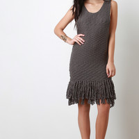 Chunky Knit Fringe Hem Dress