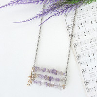 Music Score Inspired Necklace, Light Purple Ametrine Chips Stone with Music Notes Charm