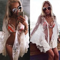Solid Color Lace Up Beach Tunic Shirt Top Blouse Cardigan
