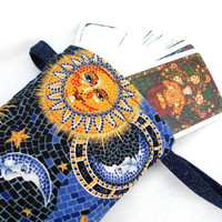 Sun, Moon and Stars Drawstring Bag - Dice Bag, Tarot Bag, Accessory Bag, Sun Moon Stars Blue Night Sky