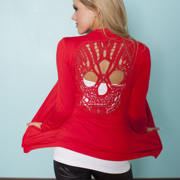 (Pre-Sale) Skull Back Cardigan Holiday Red