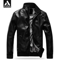 Men's Fashion Leather Mandarin Collar PU Coat Jacket