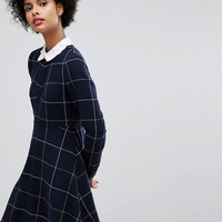 Sonia By Sonia Rykiel Big Checked Wool Dress With Embroidered Collar at asos.com