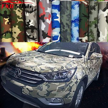 Hot Selling Premium Camo Car Sticker Vinyls PVC Motorcycle Carbon Fiber Sticker Army Military CAMO Camouflage Woodland Decal