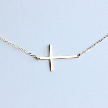 Skinny sideways cross necklace 16K gold filled cross jewelry, gold sideways cross, bridesmaid gifts, christmas baptism gift, birthday gift