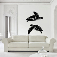 Wall decal decor decals art turtle Maritime animal ocean water sea swim design mural bedroom (m999)