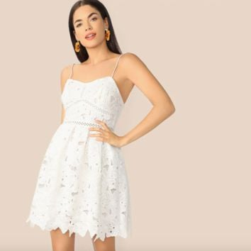 Guipure Lace A Line Short White Dress