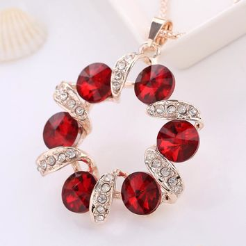 Shiny Jewelry New Arrival Gift Creative Red Crystal Stylish Fashion Costume Accessory Hot Sale Necklace [6049334209]
