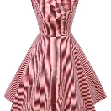 Retro Striped Flare Dress
