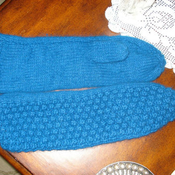 Teal Blue Handmade Winter Angora mittens/gloves, Ready to be shipped Today