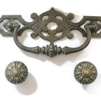 Large Ornate Bronze Scroll Drawer Handle And 2 Drawer Pulls