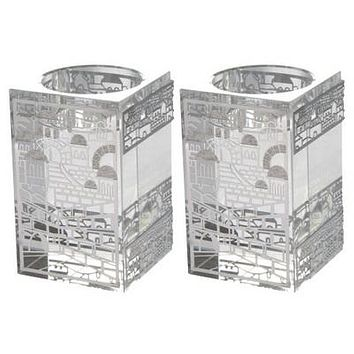 CRYSTAL CANDLESTICKS 8*5 CM WITH LASER CUT METAL PLAQUE