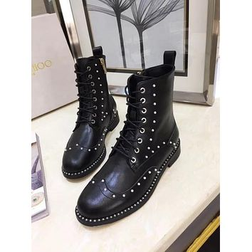 Jimmy Choo  Trending Men Women's Black Leather Side Zip Lace-up Ankle Boots Shoes High Boots