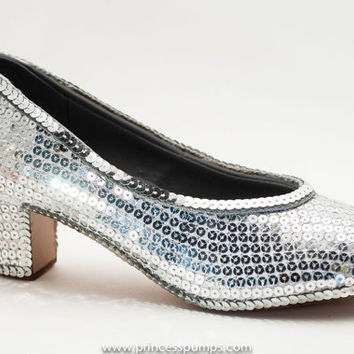 Princess Pumps Sparkly Sterling Silver Sequin 2 Inch French Scroop Heels