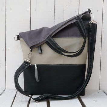 Canvas totes / Messenger bag / crossbody bag / Striped foldover bag / double zipper pockets
