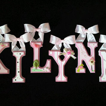 Hand-Painted and Personalized Decorative Wall Letters and Barrette Holders