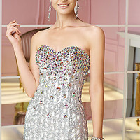 Strapless Silver Beaded Short Dress