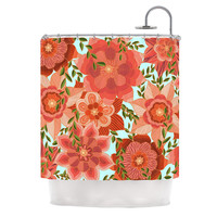 """Art Love Passion """"Flower Power"""" Red Floral Shower Curtain"""