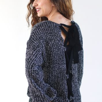 Two Tone Lace Up Back Sweater