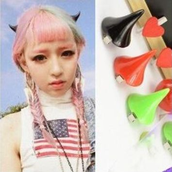 2pcs(1pair) Free Shipping Fashion Japan Harajuku Style Hair Clip Hairpin Punk Halloween Christmas Ox Horn Hairwear