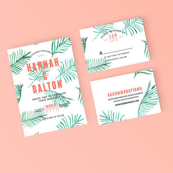 Printable Wedding Invitation Set - Modern Tropical Beach Invite, RSVP, Details Card - DIY Digital Ready to Print