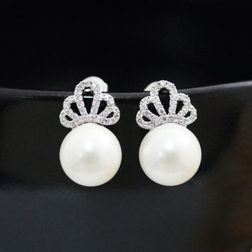Wedding Jewelry Bridal Earrings Bridesmaid Earrings CZ ear posts with white shell based pearl dangle earrings Pearl Jewelry pearl earrings