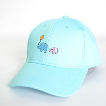 Cute Elephant Embroidery Cotton Baseball Cap Hat- Blue