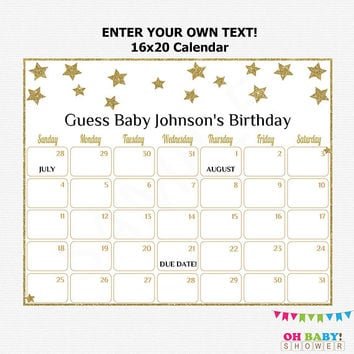 16x20 Editable Due Date Calendar, Gold Baby Shower, Twinkle Twinkle Little Star Baby Shower, Guess the Birthday Printable Download STGG