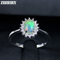 ZHHIRY For Woman Genuine Natural Fire Opal Ring 925 Sterling Silver Color Gem Stone Rings Fine Jewelry