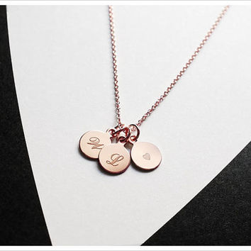 Three Initials Necklace - 14k Rose Gold Filled - Personalized Necklace - Monogram Engraved Pendant - Simple Everyday Jewelry LITTIONARY