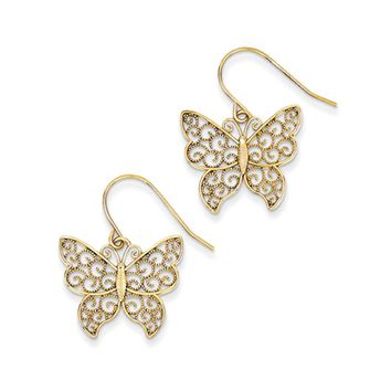 20mm Textured Filigree Butterfly Dangle Earrings in 14k Yellow Gold