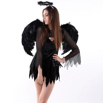 Feather Angel Fairy Wings Wand Halo Set 3Pcs Halloween Party Fancy Dress Costume 6475