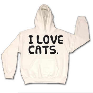 I Love Cats White Hoodie - Pullover - Sweatshirt - Jumper - Kitty - Kitten 100