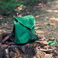 Dark Green Leaf Mini Backpack, Women's Rucksack, Waterproof Festival Backpack,Hipster Backpack, Lightweight, Durable Woodland Design