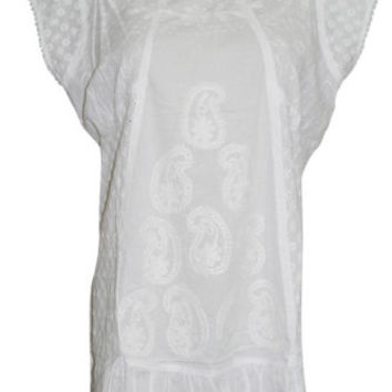 GYPSY HIPPIE BOHO CHIC COTTON WHITE TUNIC TOP ETHNIC CAP SLEEVES SUMMER BLOUSE L