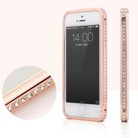 Toch TM Crystal Rhinestone Bling Metal Bumper Frame Case For iPhone 6 4.7 inch Pink