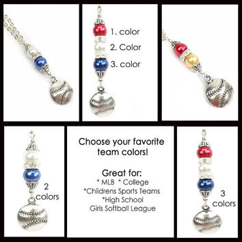 Baseball Mom Necklace, Team Spirit, Gift for Baseball Fan,  MLB