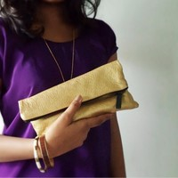 Supermarket: Metallic Mini Gold Clutch from corals & nuts
