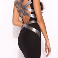 Fashion Little Black Pencil Dress /w Silver Straps Back Strappy Back Bandage Cocktail Dress = 5698687937
